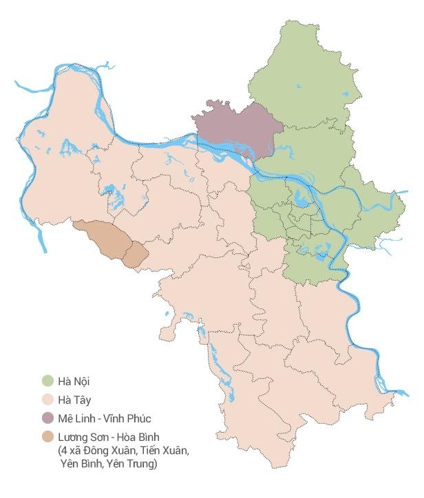 Bản đồ Hà Nội với các ranh giới địa chính cũ