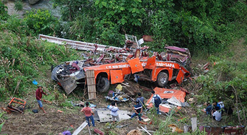 Hiện trường vụ tai nạn tại Sapa, Lào Cai ngày 1/9/2014.